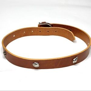 Talbots Brown Italian Leather Belt Silver Shells S